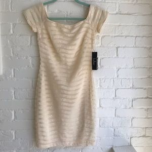 Lulu's gold sequence off white cocktail dress NEW